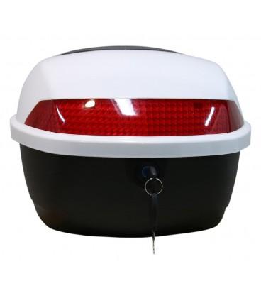 Gepäckträger und Topcase (Motoradkoffer) für das E Scooter Modell Hawk 3000 Weiß