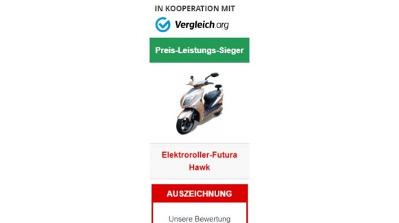 """E-Scooter """"HAWK"""", Preis-Leistung-Sieger in der Auto-Bild"""